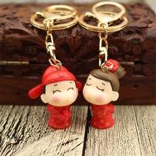 Cute Cartoon Anime Keychain Wedding Commemorative Keyring Couple Lovers Gift Accessory Pendant