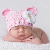 Yenidoğan Bebek Kız Pembe Sevimli Tığ Çiçek Şapka Fotoğraf Sahne bebek Bebek için Elastik Kap Fotoğraf Çekimi Sahne Şapka Doğum Günü hediye