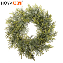 HOYVJOY  Farmhouse Decor PE Cypress Leaf Garland Christmas Door Decoration Home/office/shopping Artificial Wreath