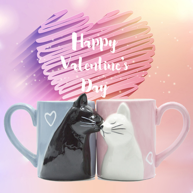 2pcs Ceramics Kiss Cat Cup Couple Mugs Lover Gift Morning  Milk Coffee Tea Breakfast Porcelain Cup Valentines Day for girl wife 1