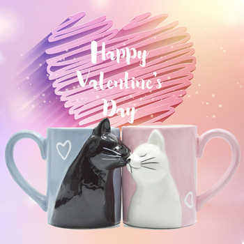 2pcs Ceramics Kiss Cat Cup Couple Mugs Lover Gift Morning  Milk Coffee Tea Breakfast Porcelain Cup Valentines Day for girl wife - DISCOUNT ITEM  6% OFF All Category