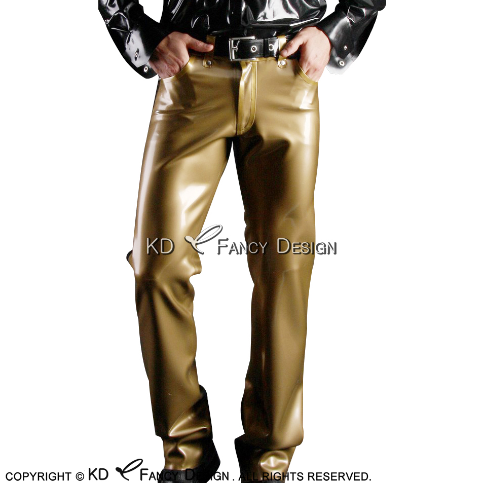 Sexy Latex Leggings with Zippers Pockets Stripes Rubber Pants Trousers CK-0071
