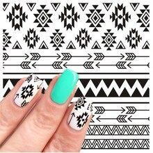 2 Patterns/Sheet Flower Nail Art Water Decals Chic Chrysanthemum Flying Dandelion Aztec Geometric Manicure 3D Transfer Sticker