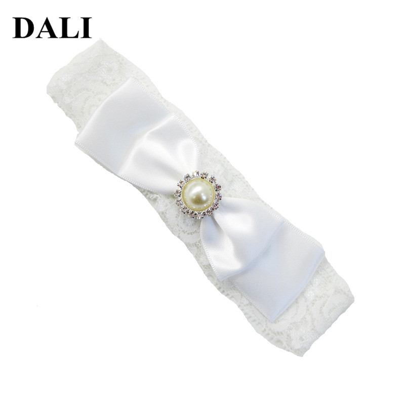 6-36M Baby Christening Headband White Beige Lace Bow Knot With Imitation Pearl Hairdress Toddler Head Bands For Little Girls