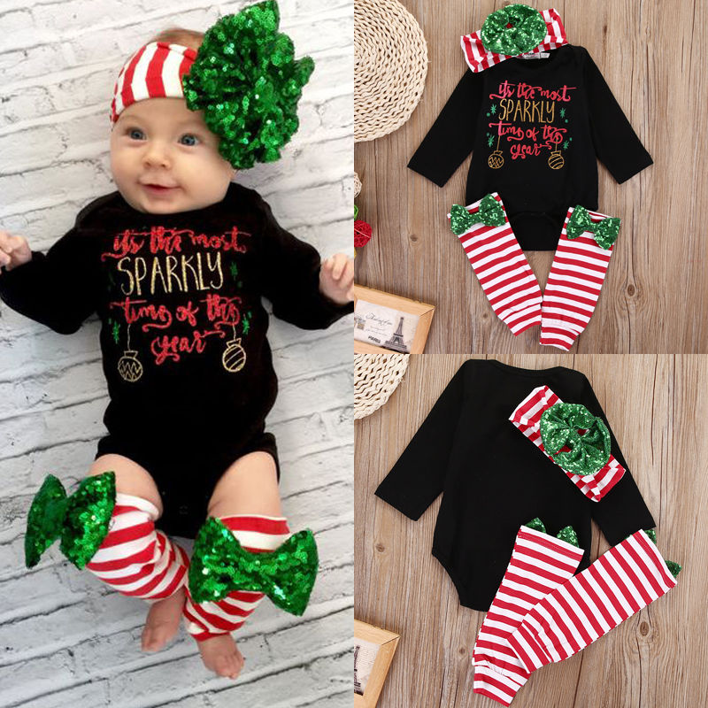 Trendy Newborn Baby Boy Girls Clothes Set Christmas Outfits Clothes Black  Bodysuits Leg Warmer 2pcs Clothing-in Clothing Sets from Mother   Kids on  ... 4a73e569b