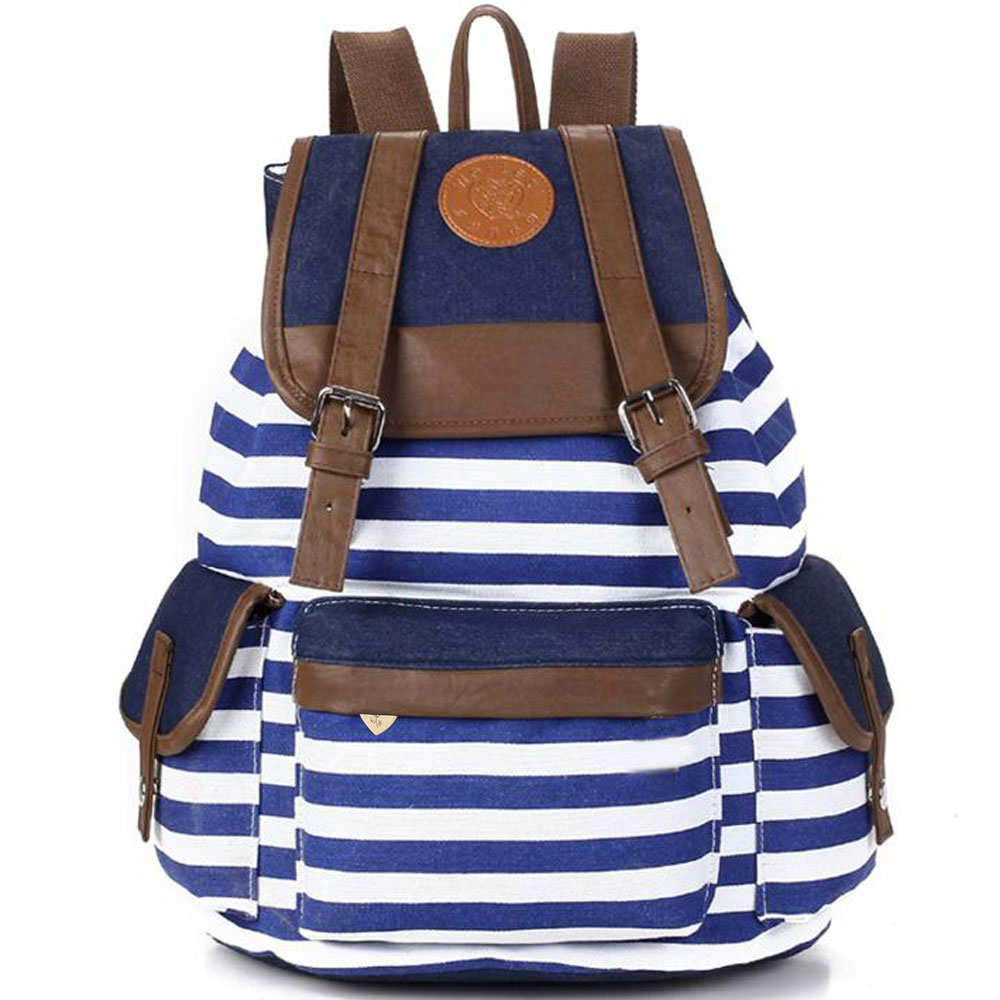 Unisex Fashion Strip Canvas Casual Bag Backpack Satchel for Women Men 5 Colors E2shopping LT88