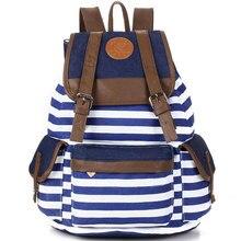 Мужская мода в полоску Повседневная парусиновая сумка рюкзак сумка для женщин и мужчин 5 цветов E2shopping LT88