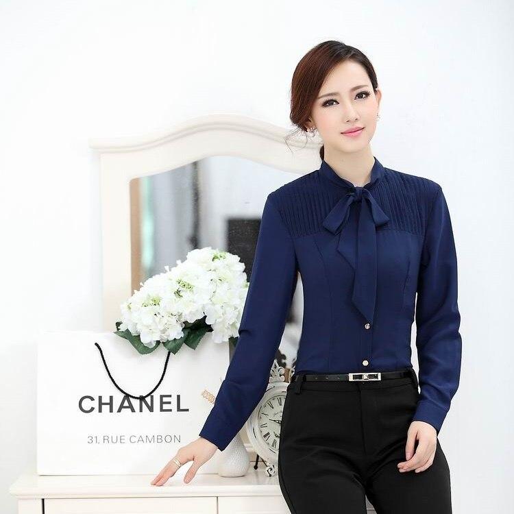 Nuevo 2015 primavera otoño moda camisas azules mujeres