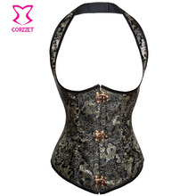 Black Gold Floral Dragon Embroidery Steel Boned Halter Underbust Corset Sexy Steampunk Corsets and Bustiers Gothic