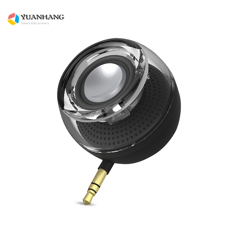 Portable HIFI 3D Surround 3.5Mm Aux Audio Jack Mini Wireless Round Shape Powerful Crystal Speaker Altavoz For Smart Phone Tablet