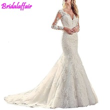 trajes de novia 2019 V-Neck Womens Wedding Dresses Mermaid With Lace Plus Size Modest Long Sleeve Bride