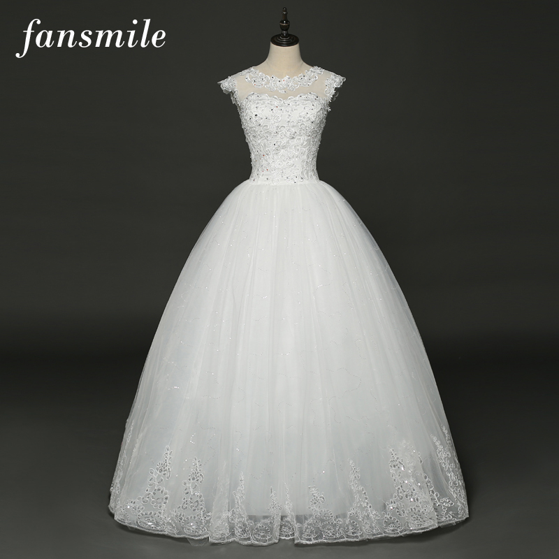Fansmile Real Photo Simple Lace Up Ball Wedding Dresses 2017 Robe de Mariage Customized Plus Size Bridal Gowns FSM-345F ...