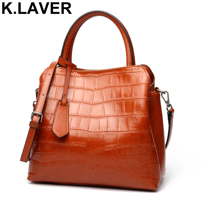 K.LAVER Women Casual Tote Genuine Leather Handbag Bag Alligator Crocodile Vintage Shopping Bag Crossbody Shoulder Bags Female women handbag shoulder bag messenger bag casual colorful canvas crossbody bags for girl student waterproof nylon laptop tote