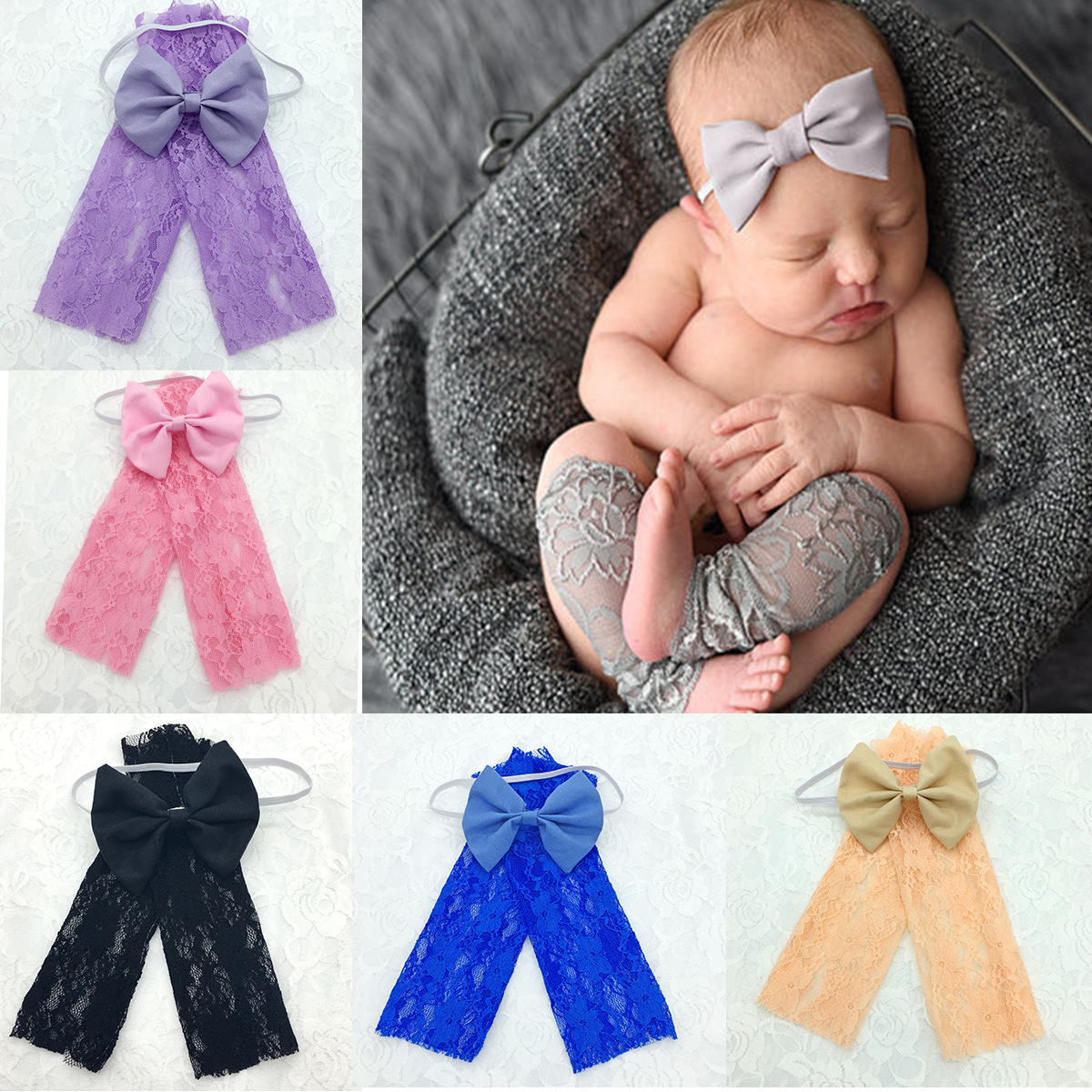 Lace Baby Photography Props Newborn Photography Clothing Sets Wraps Handmade Lace Leg Warmers Baby Photo Props Accessories