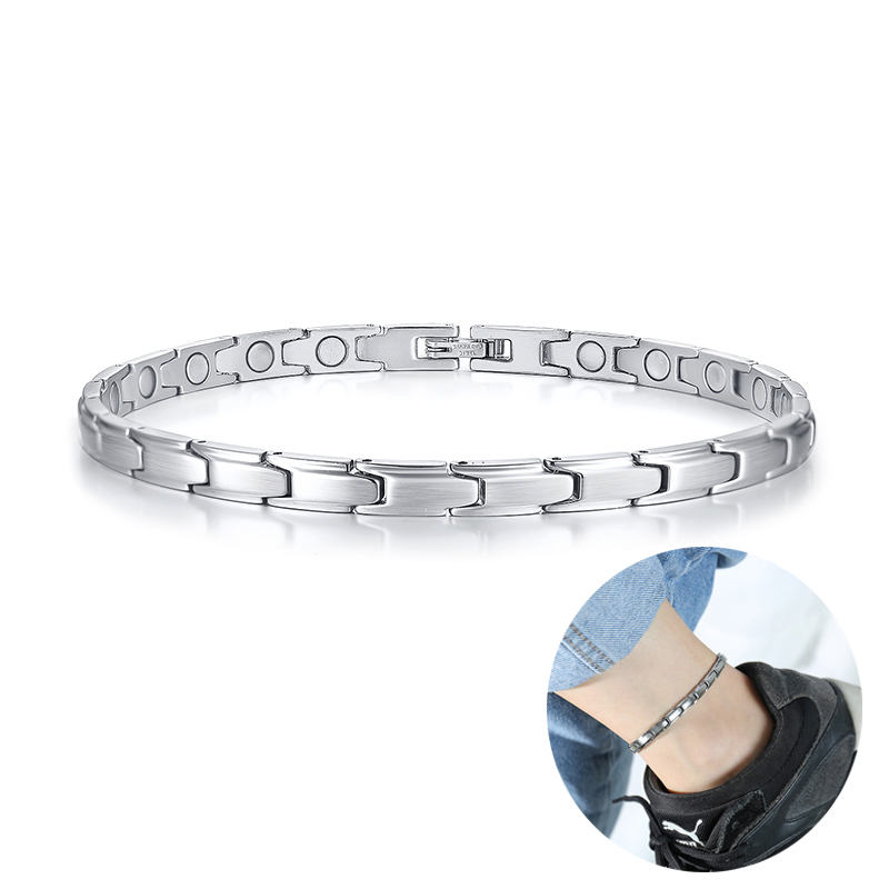 Classy Gents Stainless Steel Magnetic Anklets in Silver Tone Health Energy Bio Male Men Jewelry for Arthritis Pains