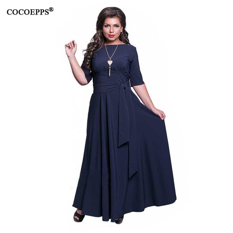 6bb02a2e241 ... 2019 осень 5XL 6XL Плюс размер женское длинное платье зима v-образный  вырез большой размер ...