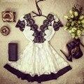 2017 Женщины Повседневная Dress Глубокий V Кружева Мини Короткие Платья Спинки A-Line Цветочные Вечера Партии Vestidos