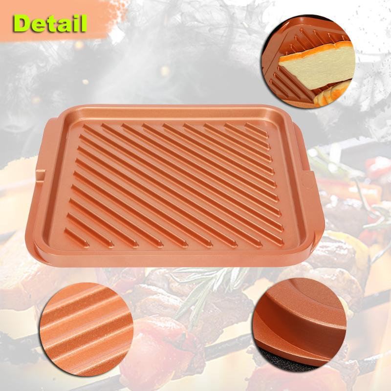 12 Non-stick Copper Pan Double Flat Grill Induction Cookware Grill Oven Suitable Griddle For BBQs