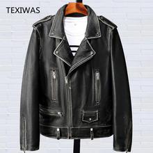 7991858b87259 Printemps Vintage Moto Biker veste 100% peau de mouton en peau de mouton  véritable veste en cuir hommes survêtement top bomber z.