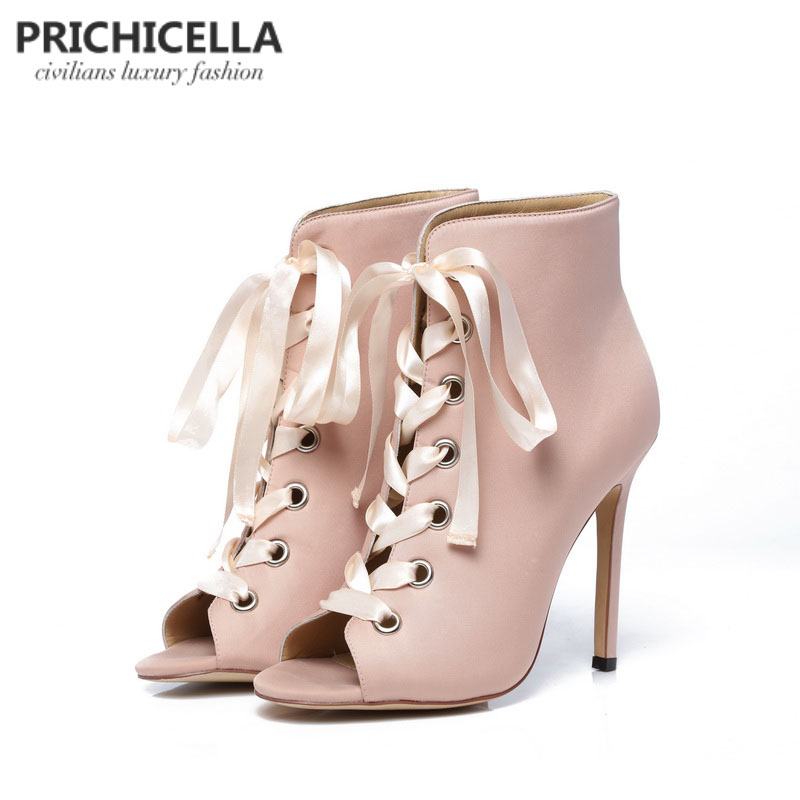 PRICHICELLA women's pink satin ribbon lace up ankle boots genuine leather open toe high heeled gladiator booties sandals