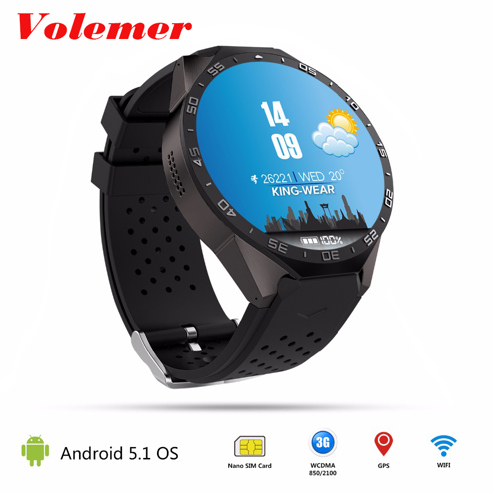 Volemer KW88 3G WIFI Smartwatch Cell Phone Bluetooth Smart Watch Phone Android 5.1 SIM Card Camera Heart Rate Monitor GPS Watch fashion s1 smart watch phone fitness sports heart rate monitor support android 5 1 sim card wifi bluetooth gps camera smartwatch