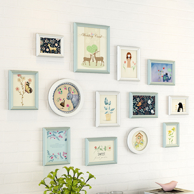 Modern Style Light Color Wall Hanging Photo Frames Set 11pcs Quality Wooden Picture Frame Home Hallway Sofa Wall Picture Frame