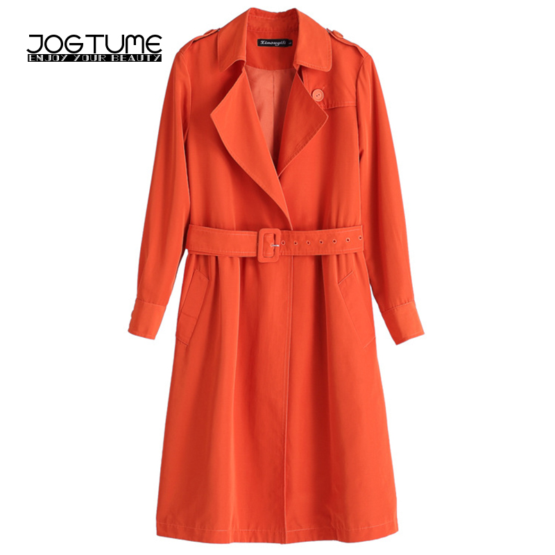 JOGTUME Orange   Trench   Coat 2017 Autumn Winter Women Warm Overcoats Windbreaker with Sashes Turn Down Collar Female Outerwear 5XL