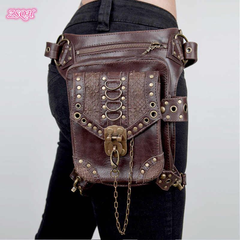 Стимпанк поясные сумки Готическая сумка на плечо винтажная Ретро Рок женская уличная стильная мини сумка для мотоцикла на ногу