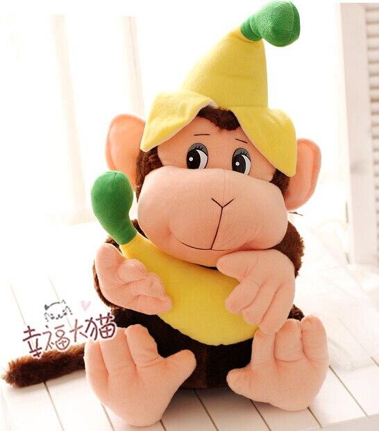 Cadeau pour bébé 1 pc 60 cm grand dessin animé cirque vilain singe avec banane peluche tenir poupée nouveauté creative peluche jouet