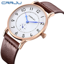 CRRJU Business Man Watches New Fashion Famous Brand Sports Watch Men Genuine Leather Strap Wristwatch Reogio Masculino For Gift