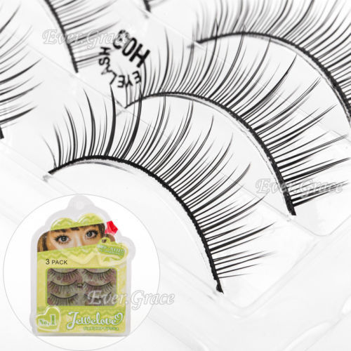 ICYCHEER 3Pairs Makeup False Eyelashes Soft Natural Long Fake Soft Eye Lashes Extension