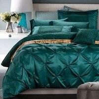 Роскошный комплект постельных принадлежностей синий зеленый пододеяльник кровать в мешок листов покрывала королева король размер двойной