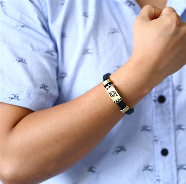 Konoha Logo Braid Leather Bracelets