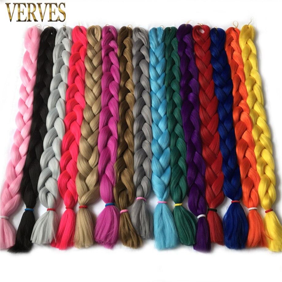 Örgü saç 1 adet uzun 100 cm katlanmış Sentetik Jumbo Örgüler 165 g/adet VERVES saf renk Örgü saç ekleme