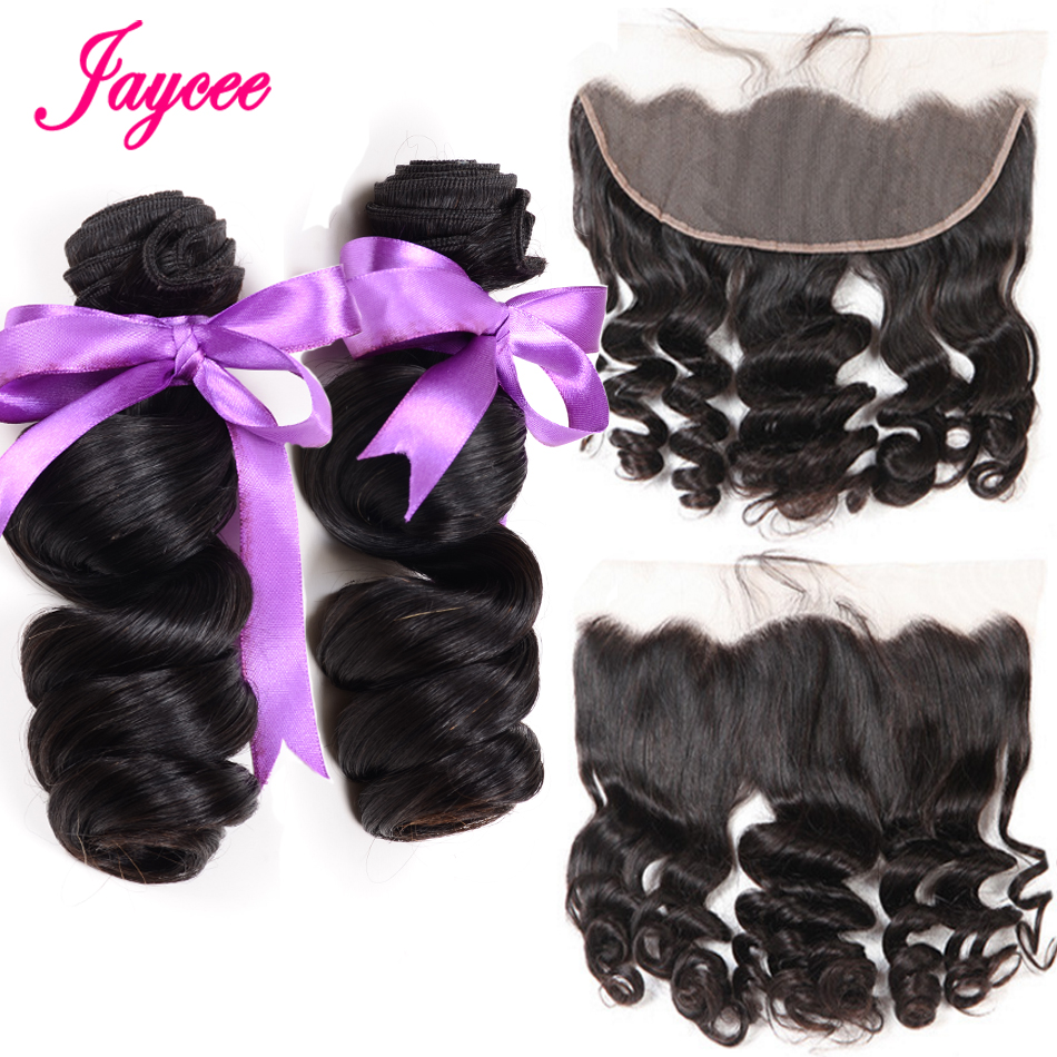 Jaycee Malaysian Human Hair 3 Bundles With Lace Frontal Closure Loose Wave Free Part 100% Remy Hair Extensions