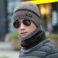 SEGLA Male Pocket Hat Muffler Scarf Set Thicken Velvet Winter Hat Fashion Snow Wool Knitted Earflaps Thermal Plush Wrap Cap Sets