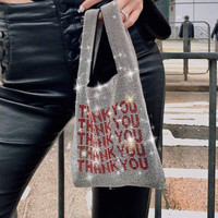Luxury Rhinestones Shopping Bag Handbag With English Letters THANK YOU Women Shiny Diamante Tote Bags Chic Reusable Grocery Bags