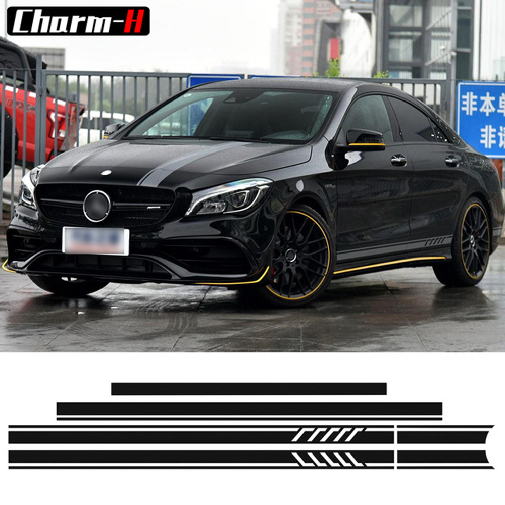 Edition 1 Stripe Top Dak Motorkap Side Stripes Decal Stickers voor Mercedes Benz W117 C117 X117 CLA45 AMG 5D Carbon Fiber / Silver