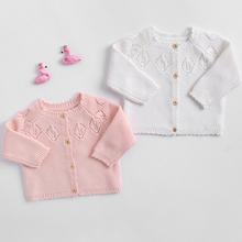 Noworodka dziewczynka słodki sweter sweter dla dziewczynek ubrania jesień z dzianiny dla niemowląt odzież wierzchnia bawełna niemowląt bawełna kurtka dla dzieci tanie tanio campure Moda COTTON Mikrofibra 83010 Pasuje prawda na wymiar weź swój normalny rozmiar Kurtki płaszcze Czesankowej