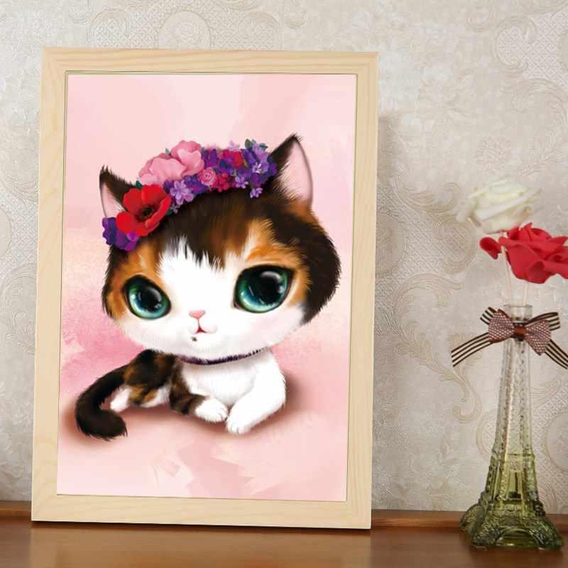 5d круглая алмазная живопись и DIY вышивка большая голова милый котенок цветы бриллиантовые наклейки алмазная Живопись Вышивка крестом домашний декор