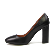 2018 Basic High Heels Natural Leather High Thick Heel Pumps Slip On Square Toe Ladies Nice Tree Female shoes Women Footwear
