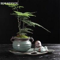 Monje Zen de cerámica macetero para suculentas Cactus maceta de plantas maceta de Bonsai contenedor plantador con la bandeja de jardín elementos de decoración para oficina hogar
