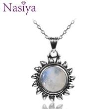 Натуральный лунный камень, 925 серебряные ювелирные изделия, подвески, ожерелья для женщин и мужчин, защита от солнца, геометрическая форма, винтажные Модные женские подвески, Лидер продаж