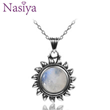Natural Moonstone 925 silver jewelry Pendants Necklaces For Women Men Sun Geometric Shape Vintage Fashion Woman Hotsale