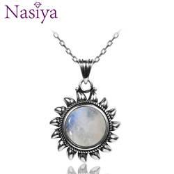 Натуральный лунный камень 925 Серебряные Медальоны ожерелья для мужчин для женщин Защита от солнца геометрический форма Винтаж модные