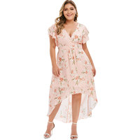 ZAFUL Women Plus Size Summer Dress V Neck High Low Floral Print Boho Party Maxi Floral Dress Breathe Fashion Sundress Clothing