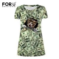 FORUDESIGNS Brand Women Dress 3D Dollar Cat Printed Short Sleeve Funny Sundress Ladies Daily Casual Dress