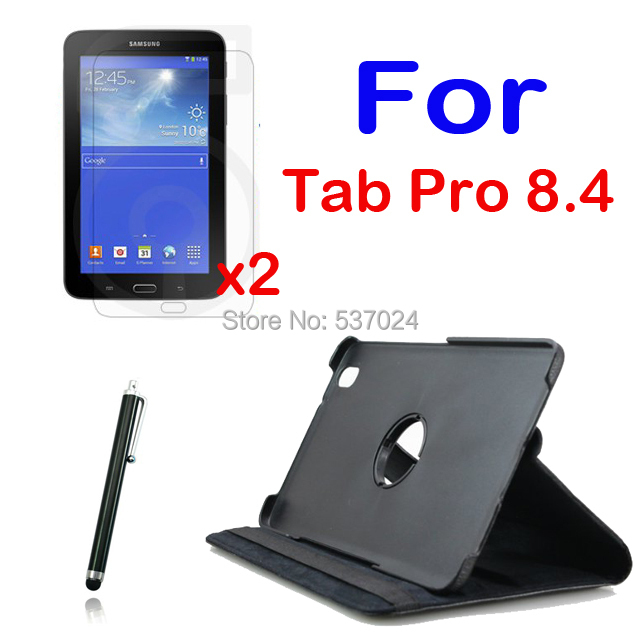 360 Degree Rotating Folio Stand Leather Case Cover +2x Clear Screen Protector+1x Stylus for Samsung Galaxy Tab Pro 8.4 T320 T321 360 degree rotating flip folio swivel stand smart case cover for samsung galaxy tab a 9 7 inch sm t550 tablet screen protector