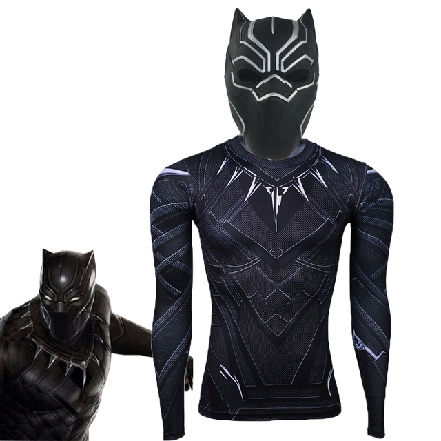 b05aec1f65eb4 Black Panther Masks T-shirt Long Sleeve Movie Captain America Fantastic For  Cosplay Men s Latex Party Mask Helmet for Halloween