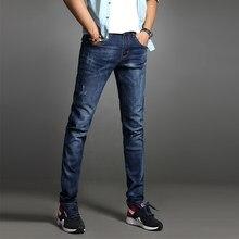 3c3a6d4cc2c0 RM 2018 Neue Mode männer Casual Stretch Dünne Denim Hosen Enge Solid Farbe  Loch Jeans Männlichen Streetwear Hiphop Hosen